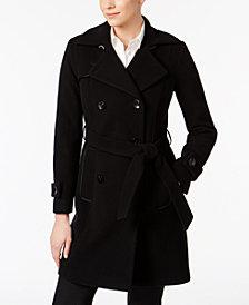 Anne Klein Wool-Cashmere Blend Belted Walker Coat