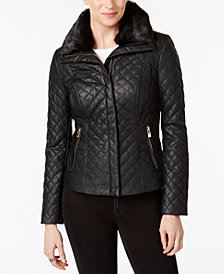 I.N.C. Faux-Fur-Collar Faux-Leather Quilted Jacket