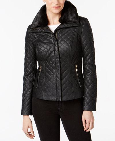 INC International Concepts Faux-Fur-Collar Faux-Leather Quilted ... : international quilted jacket - Adamdwight.com