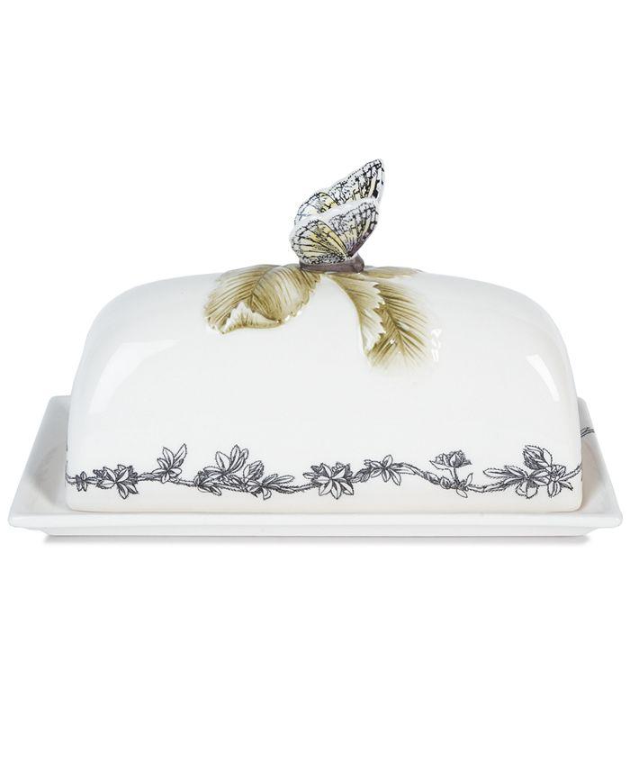 Edie Rose by Rachel Bilson - Edie Rose Dinnerware, Rose Covered Butter Dish