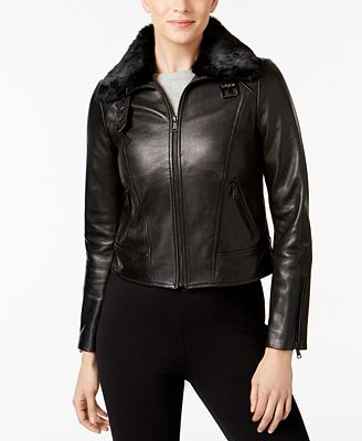Andrew Marc Rabbit-Fur-Collar Leather Jacket