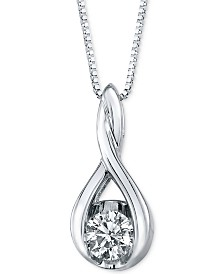 "Sirena Diamond Twist Pendant 18"" Necklace in 14k White Gold (5/8 ct. t.w.)"