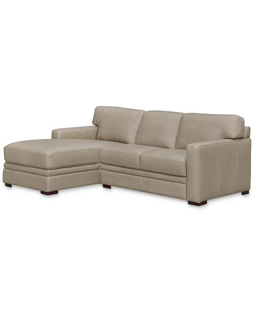 Furniture Avenell 2-Pc. Leather Sectional with Chaise, Created for