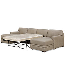 Avenell 3-Pc. Leather Sectional with Double Chaise & Full Sleeper Loveseat, Created for Macy's