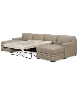 avenell 3pc leather sectional with double chaise u0026 sleeper loveseat created for