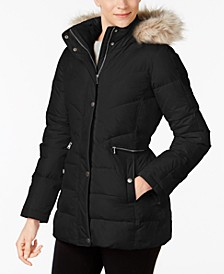 Faux-Fur-Trim Hooded Hooded Puffer Coat