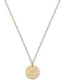 Gucci White Enamel Floral Disc Pendant Necklace in 18k Gold YBB46085100300U