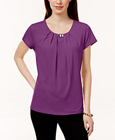 NY Collection Pleated Hardware-Trim Top
