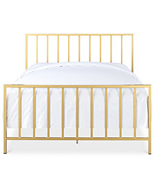 Slat Metallic Queen Bed, Quick Ship