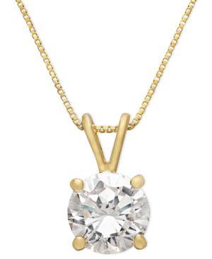 GIANI BERNINI   Giani Bernini 18k Gold Over Sterling Silver Necklace, Cubic Zirconia Pendant (1 Ct. T.W)   Goxip