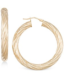 Textured Twist Hoop Earrings in 14k Gold