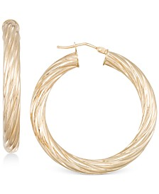 Italian Gold Textured Twist Hoop Earrings in 14k Gold