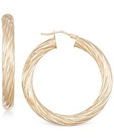 Italian Gold Textured Twist Hoop Earrings in 14k Gold