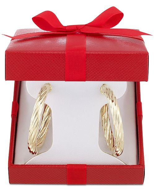 Italian Gold Textured Twist Hoop Earrings In 14k Jewelry Watches Macy S