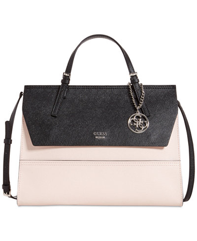 Guess Huntley Top Handle Flap Front Satchel Handbags