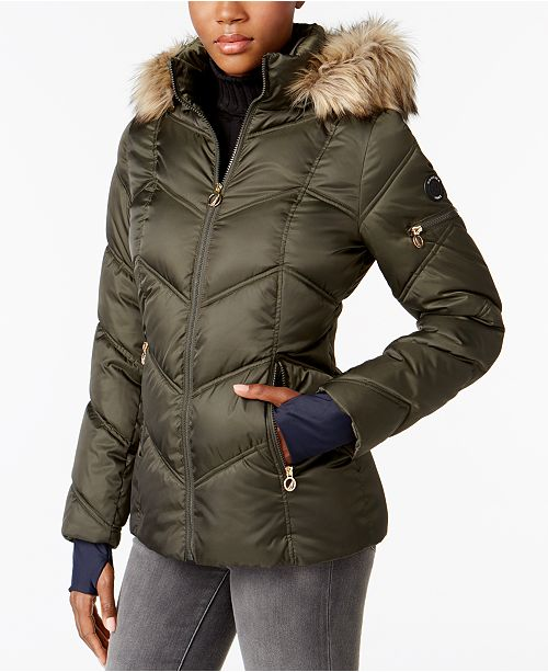 Nautica Faux Fur Trim Water Resistant Puffer Coat Coats