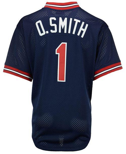 c0972ee4ab7 ... Mitchell   Ness Men s Ozzie Smith St. Louis Cardinals Authentic Mesh Batting  Practice V- ...