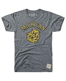 Retro Brand Men's Michigan Wolverines Tri-Blend Vault Logo T-Shirt