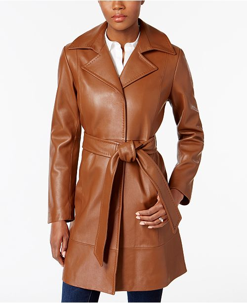 Belted Coat Trench Jones York Cognac New Leather qwvP0