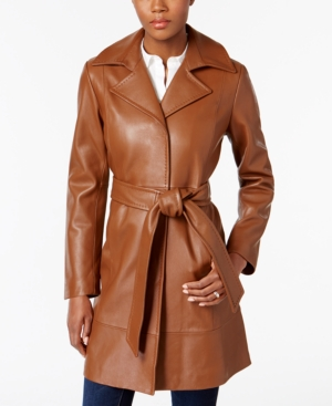 Women's 70s Shirts, Blouses, Hippie Tops Jones New York Leather Belted Trench Coat $459.99 AT vintagedancer.com