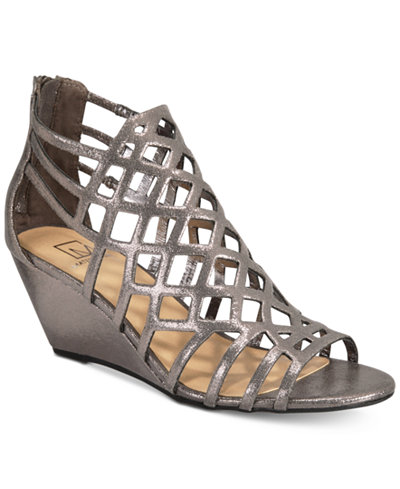 Material Girl Henie Caged Demi Wedge Sandals, Created for Macy's