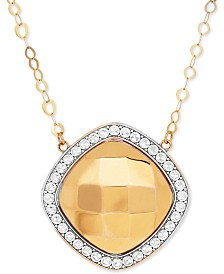 Polished & Beaded Halo Pendant Necklace in 10k Gold & Rhodium-Plate