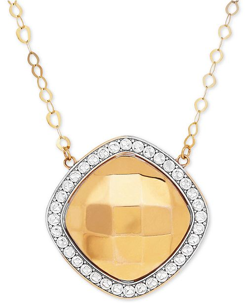 Macy's Polished & Beaded Halo Pendant Necklace in 10k Gold & Rhodium-Plate