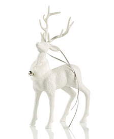Holiday Lane White Glitter Deer Ornament, Created for Macy's