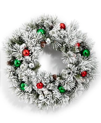 Holiday Lane Flocking Wreath With Ornaments, Created for Macy's