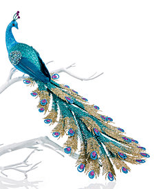 Holiday Lane Blue Peacock Clip On Ornament, Created for Macy's