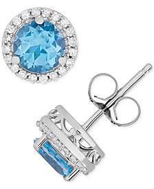 Blue Topaz (1-1/4 ct. t.w.) & Diamond (1/8 ct. t.w.) Halo Stud Earrings in 14k White Gold