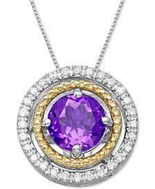 Amethyst (3/4 ct. t.w.) & Diamond Accent Two-Tone Pendant Necklace in Sterling Silver & 14k Gold