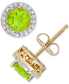 Birthstone & Diamond (1/8 ct. t.w.) Halo Stud Earrings in 14k Gold