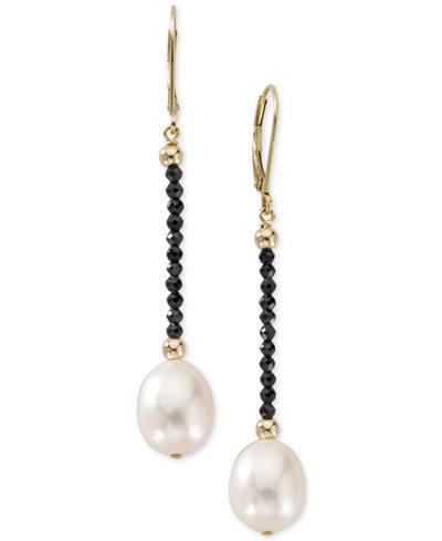 Cultured Freshwater Pearl (10mm) & Black Spinel Drop Earrings in 14k Gold
