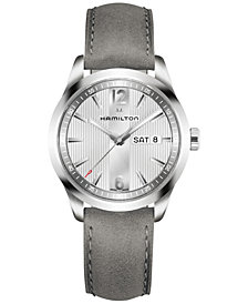 Hamilton Men's Swiss Broadway Gray Leather Strap Watch 40mm