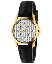 Gucci Women's Swiss G-Timeless Black Leather Strap Watch 27mm