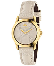 Gucci Women's Swiss G-Timeless Mystic White Leather Strap Watch 27mm
