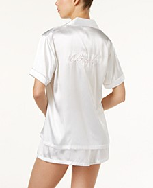 Bride Embroidered Boyfriend Short Pajama Set