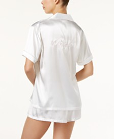 Linea Donatella Bride Embroidered Boyfriend Short Pajama Set