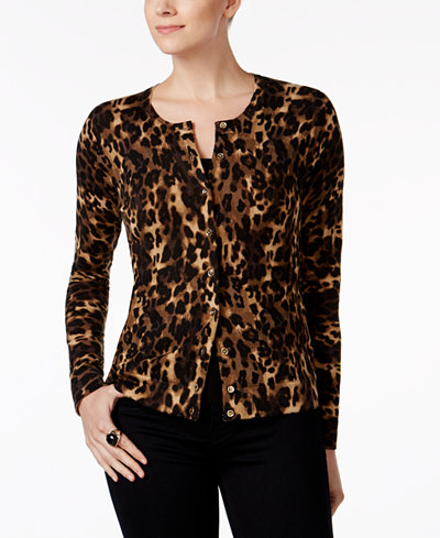 Charter Club Animal-Print Cardigan, Created for Macy's - Sweaters ...