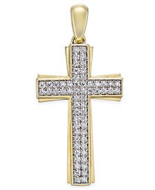 Men's Diamond Pavé Cross Pendant (1/4 ct. t.w.) in 10k Gold