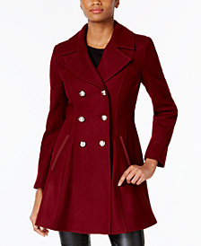 Laundry by Shelli Segal Petite Skirted Wool-Blend Peacoat, Created for Macy's