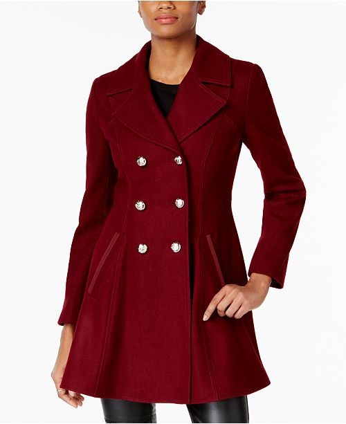 947942c0a Laundry by Shelli Segal Double-Breasted Skirted Peacoat, Created for Macy's