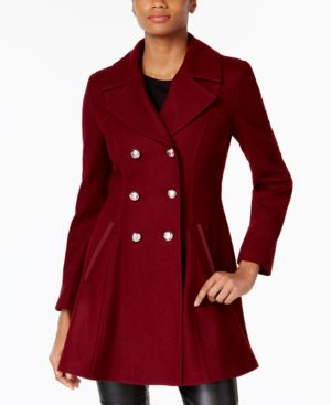 LAUNDRY BY SHELLI SEGAL Double-Breasted Military Fit & Flare Coat in Red