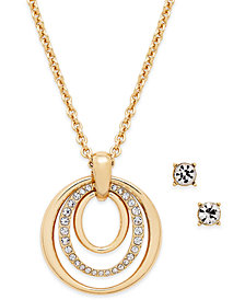 Charter Club Pavé Pendant Necklace & Crystal Stud Earrings Set, Created for Macy's