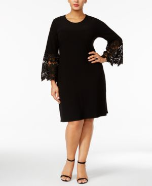 Image of Alfani Plus Size Lace-Sleeve A-Line Dress, Created for Macy's