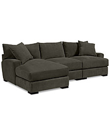 Rhyder 3-Pc. Fabric Sectional with Chaise - Custom Colors, Created for Macy's