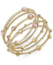 INC International Concepts Gold-Tone 5-Pc. Set Pink Stone Bangle Bracelets, Created for Macy's