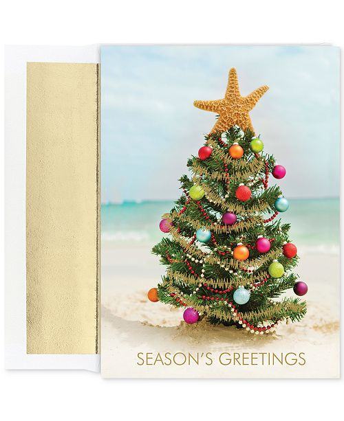 Masterpiece cards masterpiece beach christmas tree set of 18 boxed product details send greetings from the shore with this boxed set of holiday cards m4hsunfo