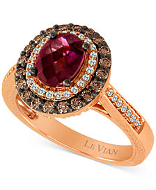 Le Vian Chocolatier® Raspberry Rhodolite® (1-1/6 ct. t.w.) & Diamond (5/8 ct. t.w.) Ring in 14k Rose Gold